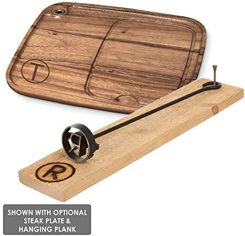 BBQ Fans Western G Branding Iron for Steak, Buns, Wood Leather Includes Redwood Plank Wood Steak Plate