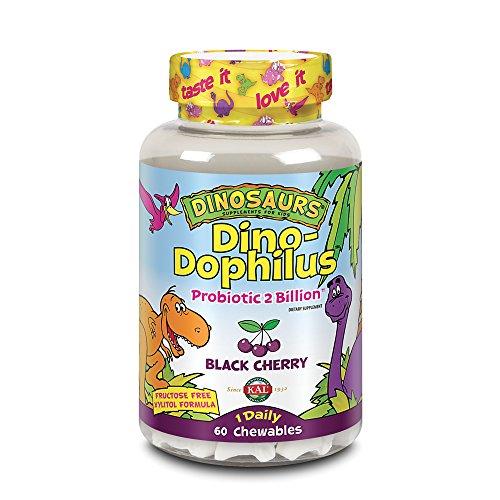 (KAL Dino-Dophilus Probiotic 2 Billion Chewables, Black Cherry, 60 Count)