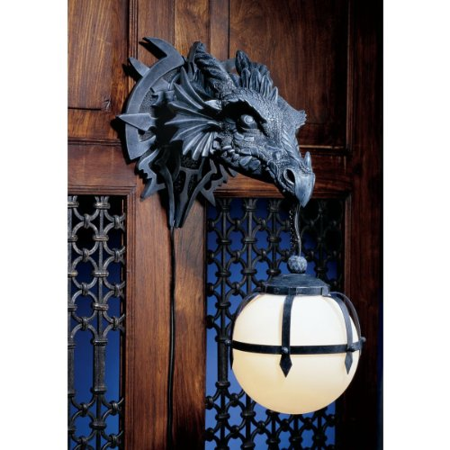 Design Toscano Marshgate Castle Dragon Electric Wall Sconce Light Fixture, 17 Inch, Polyresin, Grey Stone