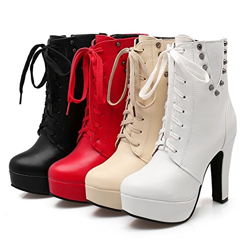 Kaloosh Women's Mature Pointed Toe Lace up Block High Heels Zip Platform Ankle Boots Party Shoes 3white yLUeDv9