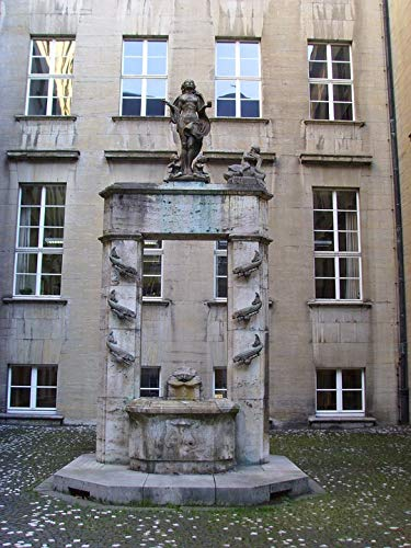 "Photography Poster - Fountain, City Hall, Bochum, German - 24""x18.5"", Gloss Finish"