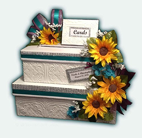 Jewish Wedding Invitations - Sunflower Wedding Card Box, Two Tiers, personalized, handmade, choice of flower and ribbon colors, All The Best Card Boxes