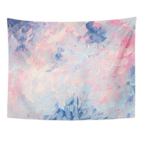 TOMPOP Tapestry Abstract Gouache Painting Dreamy Elegant and Cheerful Pink Blue Home Decor Wall Hanging for Living Room Bedroom Dorm 60x80 ()