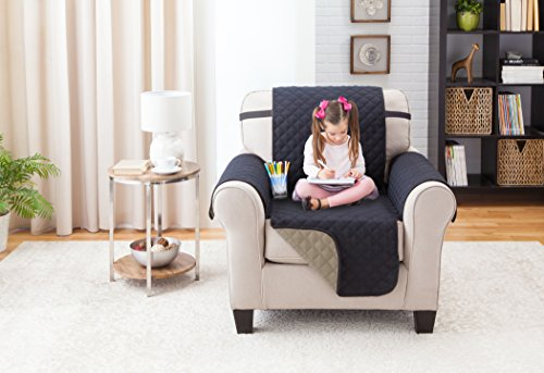 Deluxe Reversible Chair Furniture Protector, BLACK / TAUPE