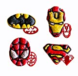 SUPERHERO COOKIE CUTTERS 4 Pieces for Extra Fun Baking – Includes Ironman Superman Spiderman Batman mold. Safe and Plastic. Perfect for Making Cookies, Mini Sandwiches, Shapped Cheese