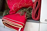 Ships Out Same Day, Christmas Tree Skirt with Custom Burnished Gold Trim, Fully Lined, Large Red Burlap Tree Skirt, Approx. 60'', Free Second Day Shipping, Seller Fulfilled Prime, No Personalization