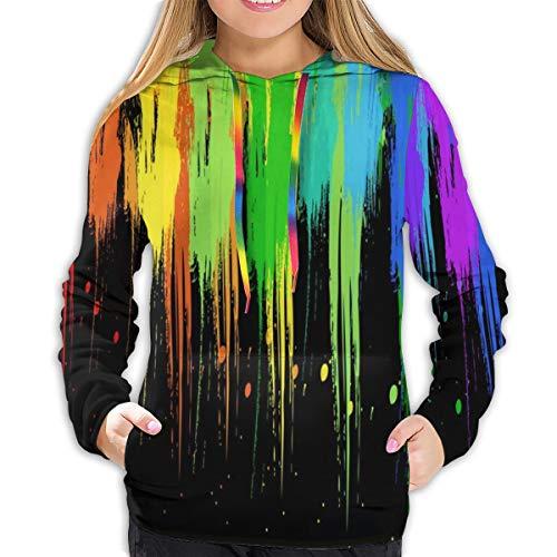 Women's Sweatshirt Rainbow Paint Splatters Fabulous Girl Casual Hooded Athletic Pullover