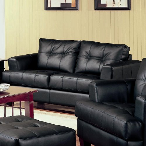 Samuel Bonded Black Leather (Coaster Samuel Transitional Black/Cappuccino Leather Love Seat)