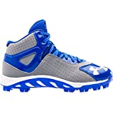 Under Armor Spine Authentic MLB Baseball Little League Boys Hightop Cleats, Size 7, Grey/Royal Blue