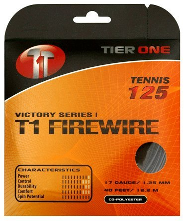Tier One T1-Firewire Co-polyester Tennis String (Black, 17 gauge (1.25 mm) - 12.2 m set)