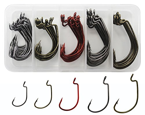 Hook Worm Plastic (JSHANMEI Jig Fishing Hooks High Carbon Steel Worm Senko Bait Jig Fish Hooks with Plastic Box)