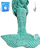 "Toys : LAGHCAT Mermaid Tail Blanket Knit Crochet Mermaid Blanket for Adult, Oversized Sleeping Blanket, Wave Pattern (75""x35.5"",Mint Green)"