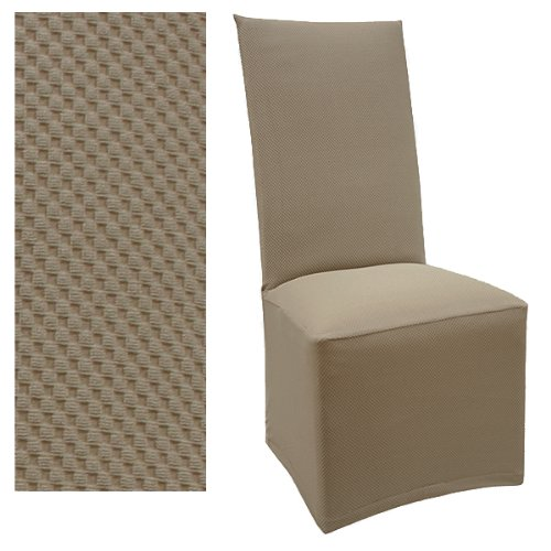 Stretch Pique Medium Taupe Dining Chair Covers Set of Four 706