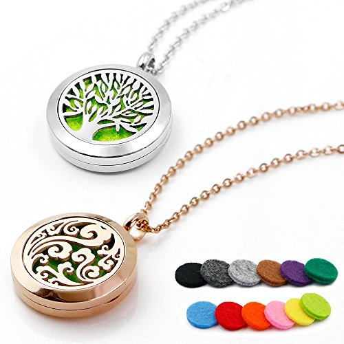 RoyAroma 25MM Aromatherapy Essential Oil Diffuser Necklace Cloud Tree Patterns Pendant Locket Jewelry,24Adjustable Chain Stainless Steel Perfume Necklace