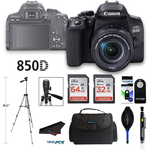 Canon EOS 850D DSLR Camera w/Canon EF-S 18-55mm F/4-5.6 is STM Lens + Pixibytes Advanced Bundle