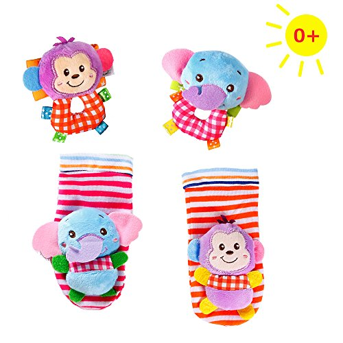 Plush Leg - Infant Baby Animal Wrists Rattle & Foot Finder Floor Socks Set Soft Plush Early Educational Toy for Unisex Boys Girls - Elephant&Monkey - 4 Pieces