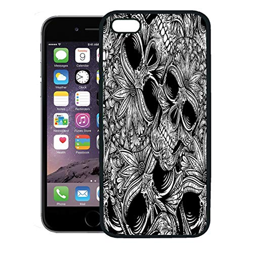 Semtomn Phone Case for iPhone 8 Plus case Cover,Pattern Black and White Tattoo Skull Flower Halloween Dark Dead,Rubber Border Protective -