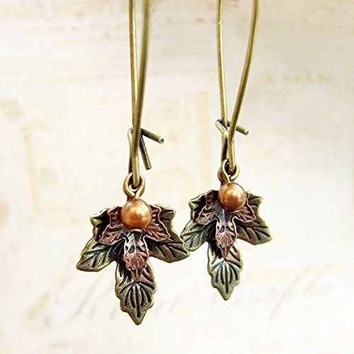 - Vintage Style Autumn Maple Leaf Earrings in Antiqued Brass with Swarovski Simulated Pearls