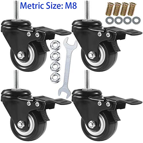 DICASAL Swivel Casters 2 Inch Metric Thread Size Stem Wheels Castors PU Quite Mute Caster for DIY Stands Carts Trolly 360 Degrees Directions with Double Breaks Set of 4 (M8-1.25x25mm)