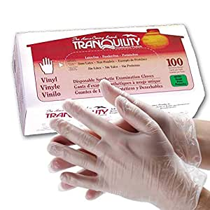 Tranquility Disposable Vinyl Exam Gloves, Powder-Free, Size Small, Box/100