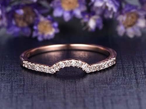 Amazon.com: Solid 14K Rose Gold Diamond Engagement Ring