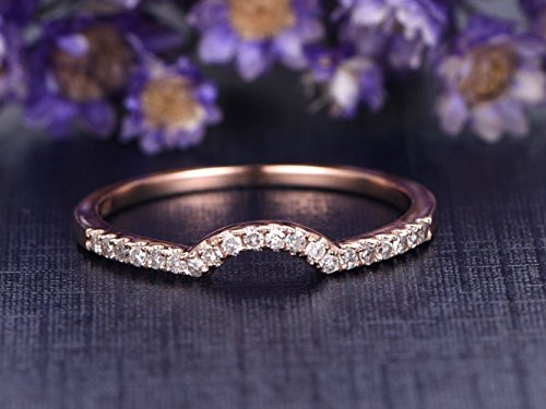 Solid 14K Rose Gold Diamond Engagement Ring,Half Eternity Curved U Band,Wedding Promise Ring,Anniversary Stacking Ring,Reco Antique, Wedding