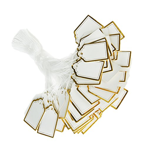 Fenteer 500 Pieces/ pack Wholesale White Strung Gold Border Price Ticket Tags Labels Retail Clothing Gift Sticker Jewelry Clothing Gift Tag Tie On Paper ()