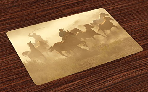 (Lunarable Western Place Mats Set of 4, Galloping Running Horses in Desert 2 Cowboys Roping Dusty Wild Rural Countryside, Washable Fabric Placemats for Dining Table, Standard Size, Camel)
