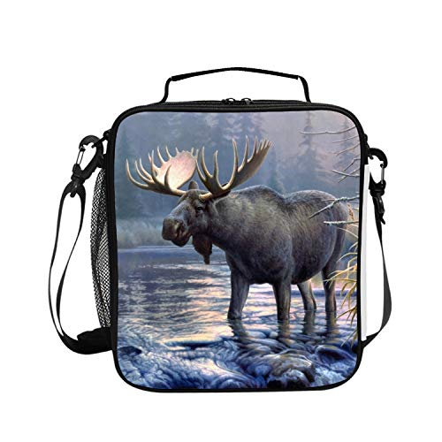 Female Moose - Insulated Lunch Box Cute Moose Lunch Bag for Men/Women