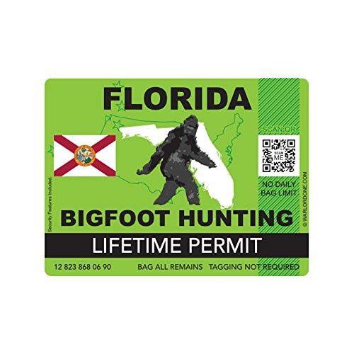 fagraphix Florida Bigfoot Hunting Permit Sticker Die Cut Decal Sasquatch Lifetime FA Vinyl - 4.00 Wide