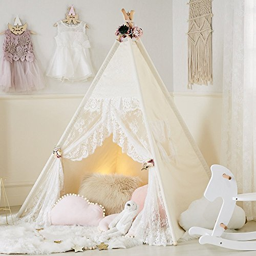 little dove Floral Classic Ivory Kids Teepee Kids Play Tent Childrens Play House Tipi Kids Room Decor -