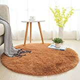 Softlife Soft Round Area Rug,Fluffy Carpet Fashion Color Shaggy Rugs Anti-Slip Nursery Rug for Bedroom Girls Room Home Decoration 4 Feet,Khaki