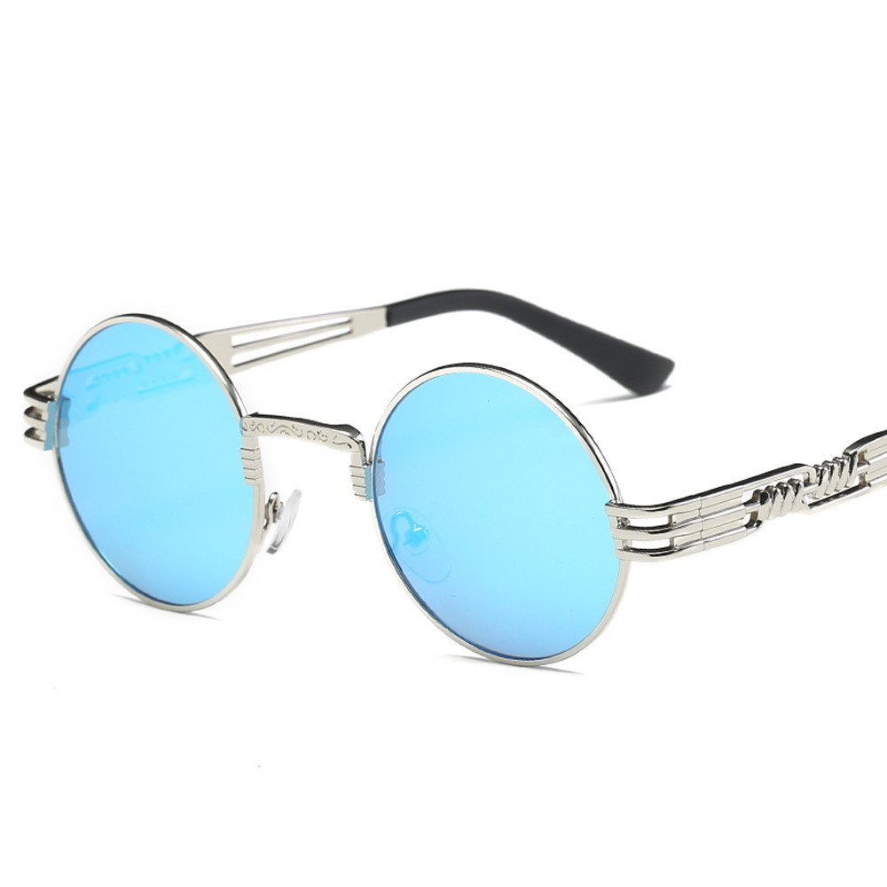 ☣Women Retro Round Glasses Unisex Fashion Mirror Lens Travel Sunglasses