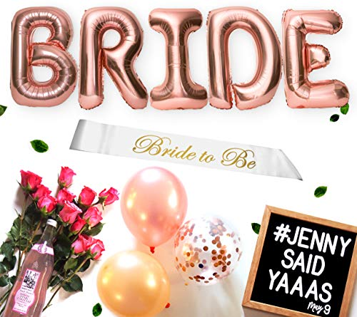 Extra Large 32 Inch Bride Balloons in 22 Piece Bachelorette Party Decorations Bridal Shower Decorations Kit Rose Gold Party Decorations Plus Bride Sash