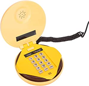fosa Wired Landline Phone, Novelty Emulational Lovely Cute Hamburger Telephone Creative Desktop Phone Corded Phone for Home Office Deco with Flash, re-dial and Voice-Frequency Dialing Function, Funny