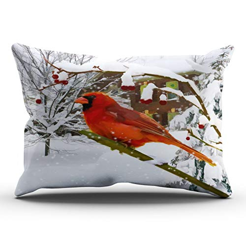 (XIUBA Pillowcases Red Green White Cardinal Bird Snow Winter Customizable Cushion Decorative Rectangle 12x24 inch Lumbar Size Throw Pillow Cover Case Hidden Zipper One Side Design Printed )