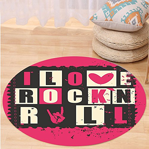 Niasjnfu Chen Custom carpetRetro Vintage Letters I Love Rock n Roll on Poster Stamp Music Theme Artwork for Bedroom Living Room Dorm Pink Black White by Niasjnfu Chen
