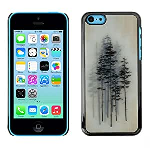 For Apple iPhone 5C Case , Trees Forest Art Painting - Diseño Patrón Teléfono Caso Cubierta Case Bumper Duro Protección Case Cover Funda