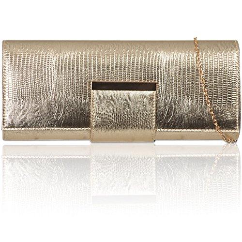 Xardi Reino Unido mujer piel sintética estilo francés bolso de embrague Diseñador Señoras Noche Prom Bolsa dorado