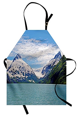 Lunarable Landscape Apron, Mountain and Lake in Anchorage Alaska Springtime Sunny Day Scenic Picture, Unisex Kitchen Bib Apron with Adjustable Neck for Cooking Baking Gardening, White Green Teal ()