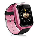 (US) TOP-MAX Kids Smart Watch with GPS Tracker for Children Girls Boys with Camera SIM Calls Anti-lost SOS Pedometer Smartwatch Bracelet for iPhone Android Smartphone (Pink)
