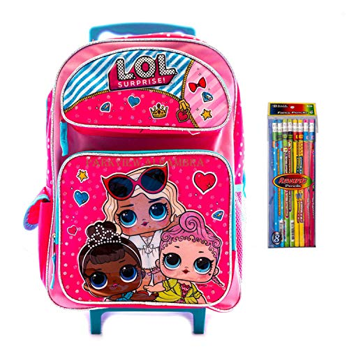 L.O.L Surprise! Backpack Rolling Book Bag Travel Bag Elementary 3 Girls with Heart! Series with Pencil