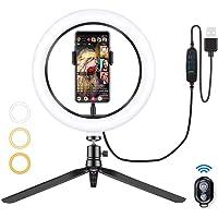 MIMIVIVA lampa pierścieniowa do selfie ze statywem, 3 kolory i 10 poziomów jasności, działa do robienia zdjęć i filmów…