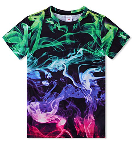 Funnycokid Cool Tees Short Sleeve Graphic 3D Print Colorful Smoke T Shirts for Youg Youth Boys Girls L -