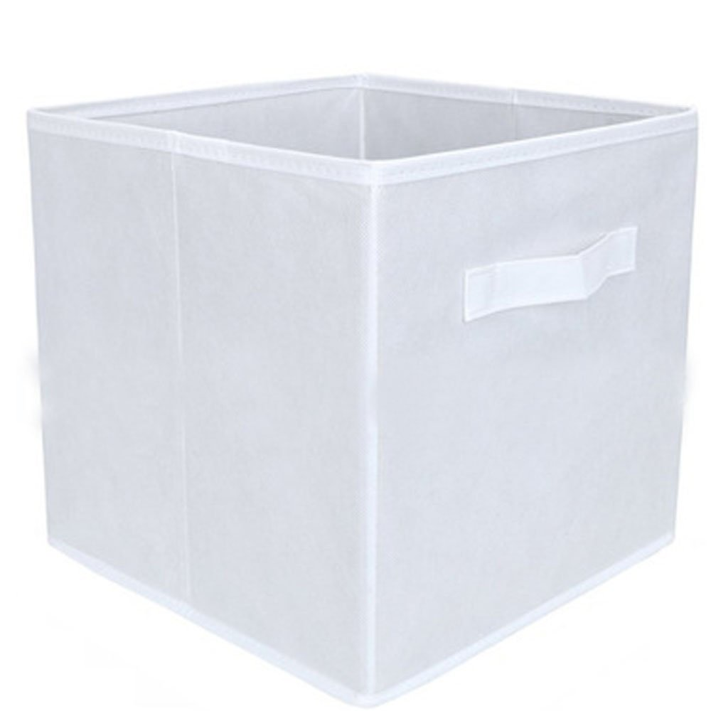 Watooma Giocattolo cassette in tela pieghevole cesta portaoggetti con maniglie Toy organizer per cameretta, giocattoli per bambini, Closet & Laundry, cesto regalo White