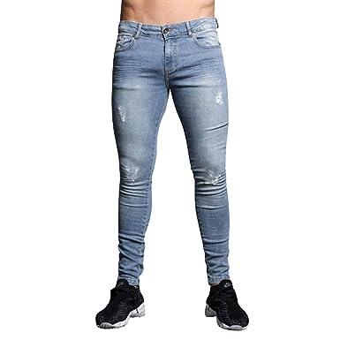 Hibote Pantalones Vaqueros de los Hombres Denim elástico ...