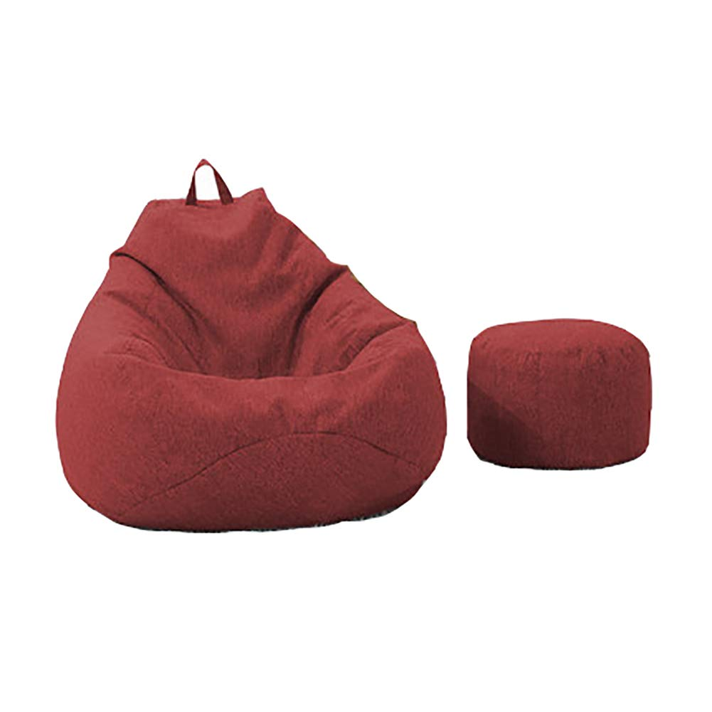 Lazy Couch Bean Bag Lazy Couch + Footstool Small Apartment Single Bedroom Small Sofa Detachable Cotton and Linen (Color : Dark Gray) HYDTSH