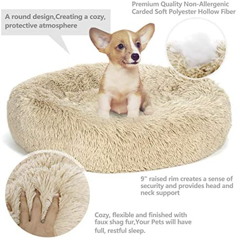 Nova Microdermabrasion Calming Ultra Soft Shag Faux Fur Dog Bed Comfortable Donut Cuddler for Dogs and Cats,Self-Warming and Washable