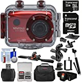 Vivitar DVR786HD 1080p HD Waterproof Action Video Camera Camcorder (Red) Remote, Helmet, Bike, Suction Cup & Dashboard Mounts + 32GB Card + Case + Kit