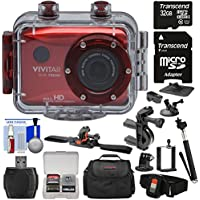 Vivitar DVR786HD 1080p HD Waterproof Action Video Camera Camcorder (Red) with Remote, Helmet, Bike, Suction Cup & Dashboard Mounts + 32GB Card + Case + Kit